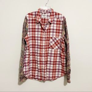 Anthropologie Holding Horses Plaid Mixed Flannel L